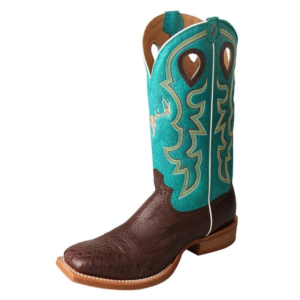 Twisted X Western Boots Mens Stock Silver Block Buckle Tobac