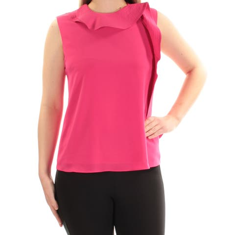 CYNTHIA ROWLEY Womens Pink Ruffled Zippered Sleeveless Crew Neck Top Size: S