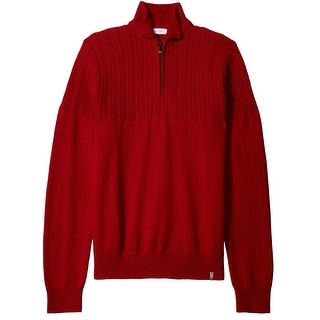 Calvin Klein NEW Red Mens Size Large L Pullover Quarter Zip Sweater