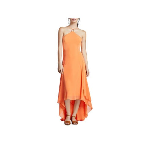 Halston Heritage Womens Evening Dress High-Low Halter - Mandarin