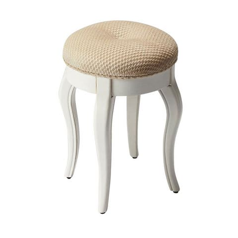 Offex Traditional Round Distressed Wooden Cottage White Vanity Stool