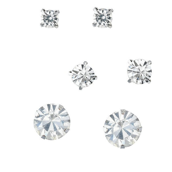 Faux Diamond Round Cut Silver Tone Crystal Mother Daughter Stud Earrings 3 Pairs