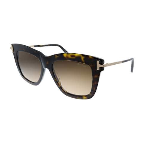 Tom Ford Dasha TF 822 52F Womens Dark Havana Frame Brown Gradient Lens Sunglasses