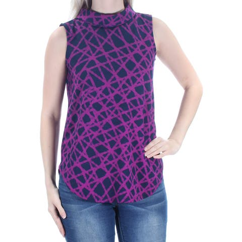 c43dc7fc3fc66 ALFANI Womens Purple Sleeveless Turtle Neck Top Size  S