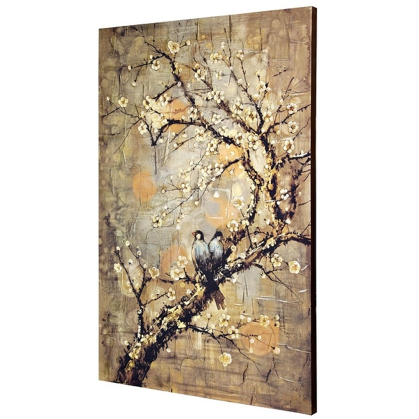 """StyleCraft SC-WI32228 47 1/4"""" x 31 1/2"""" Frameless Botanical Branches and Birds Painting on Canvas - Sunshine Yellow"""