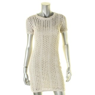Theory Womens Petites Sweaterdress Crochet Pull Over - p