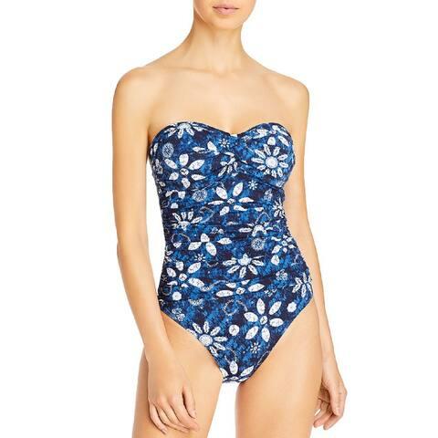 Bleu by Rod Beattie Women's Floral Batik Bandeau One-Piece Swimsuit,14