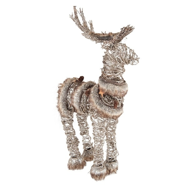 "20.5"" Rustic Style Faux Fur Trimmed Glittered Deer Decorative Christmas Figure - brown"