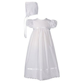 Baby Girls White Poly Cotton Lace Collar Hem Hat Christening Gown