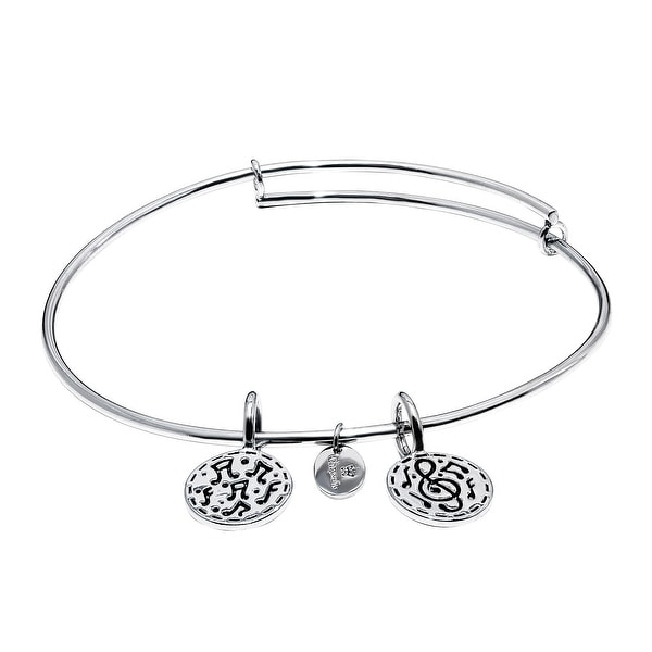 Chrysalis 'Festival' Expandable Bangle in Rhodium-Plated Brass - White