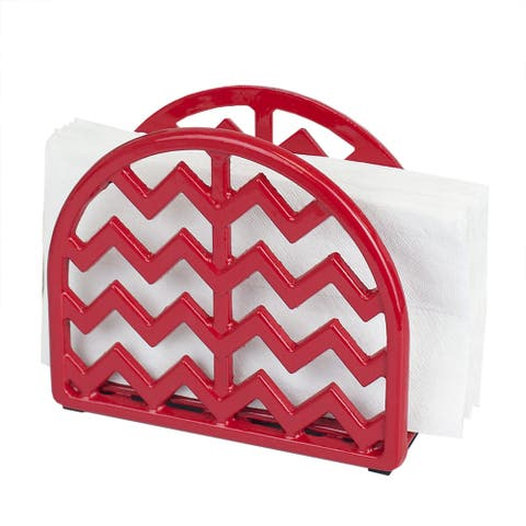 Home Basics Cast Iron Chevron Design Napkin Holder, Red, 5.7x2x4.75 Inches