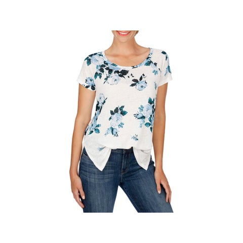 Lucky Brand Womens T-Shirt Boat Neck Floral Print