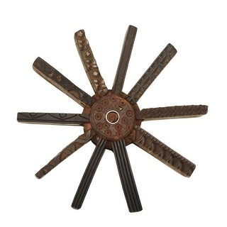 """12"""" Caramel Brown Rustic Finished Decorative Recycled Block Print Star Wall Decor"""