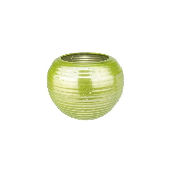 """Set of 4 Green and Silver Horizontal Ribbed Mercury Glass Decorative Votive Candle Holders 3.25"""""""