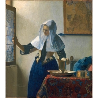 Easy Art Prints Johannes Vermeer's 'Young Woman with a Water Pitcher' Premium Canvas Art