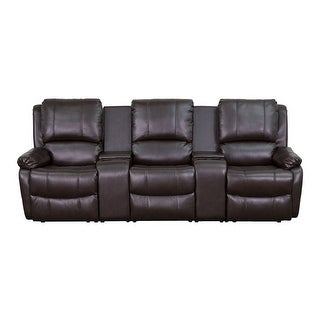Offex Brown Leather Pillowtop 3-Seat Home Theater Recliner with Storage Consoles [OF-BT-70295-3-BRN-GG]