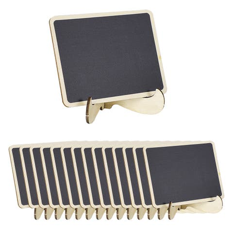 15pcs Wood Mini Chalkboard Sign Tags w Base Stand for Message Board Sign - Gray