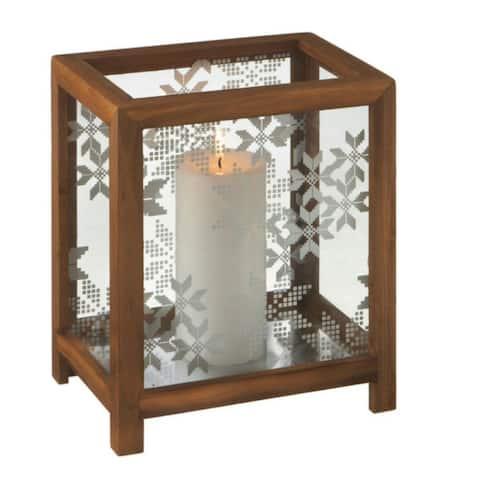 "10"" Alpine Chic Nordic Snowflake Wooden Christmas Pillar Candle Holder"