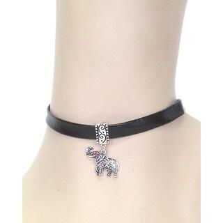 Elephant Leatherette Choker - Black