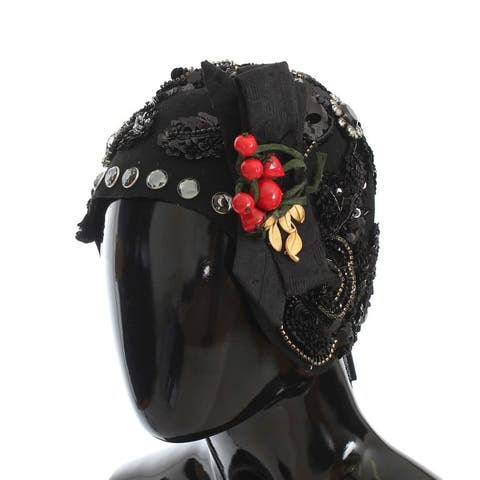 Dolce & Gabbana Black Crystal Gold Cherries Brooch Women's Hat - One Size