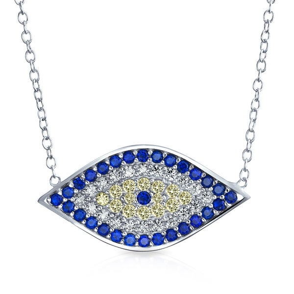 Shop Turkish Evil Eye Necklace For Women Pendant Blue Yellow Cubic Zirconia  Eye CZ Sterling Silver 16 Inches - Free Shipping On Orders Over  45 - -  17988619 acfd659c1a