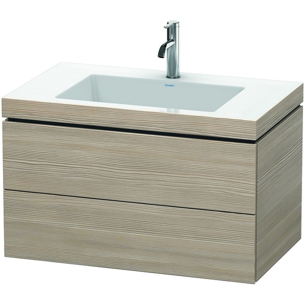 """Duravit LC6927 L-Cube 32"""" Wall Mounted Single Basin Vanity Set with Wood Cabinet and Ceramic Vanity Top - Pine Silver"""