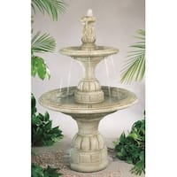Tiered Cast Stone Small Contemporary Waterfall Fountain Finish Elban Olivestone