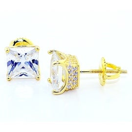 Princess Cut Stud Earrings 8mm Wide Yellow Gold-Tone Silver Screw Back 4 prong With Pave Sides By MidwestJewellery