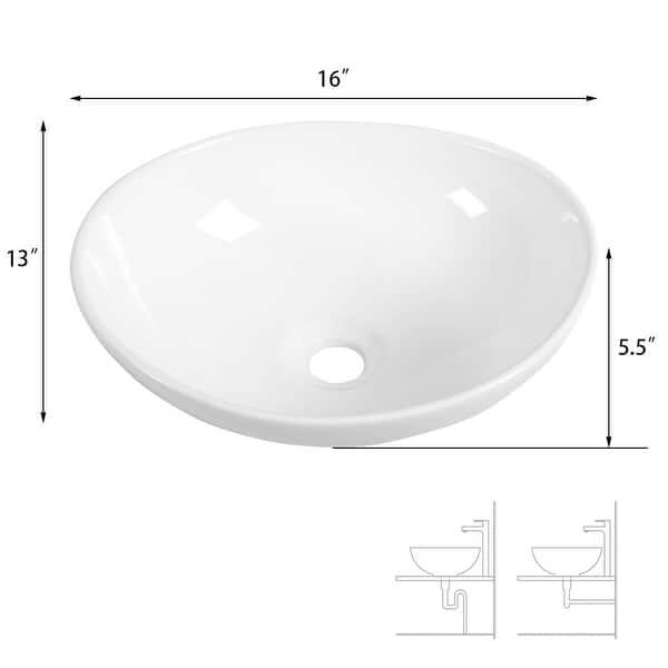 Costway Oval Bathroom Basin Ceramic Vessel Sink Bowl Vanity Porcelain Overstock 18004756
