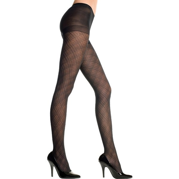 Spandex Diamond Criss Cross Pantyhose, Sheer Diamond Criss Cross Pantyhose - Black - One Size Fits Most