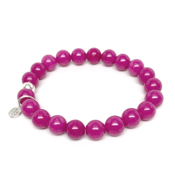"Fuchsia Jade Lucy 7"" Sterling Silver Stretch Bracelet"