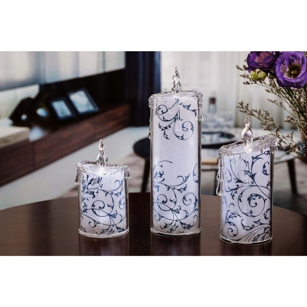 Set of 2 Blue and White Contemporary Swirly Leaves LED Lighted Candles - N/A