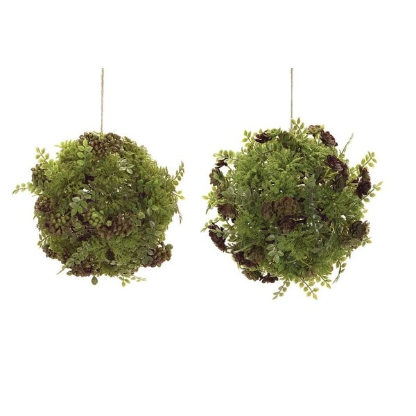 """Pack of 4 Uniquely Mixed Greenery and Foliage Ball Ornaments 8.5"""""""