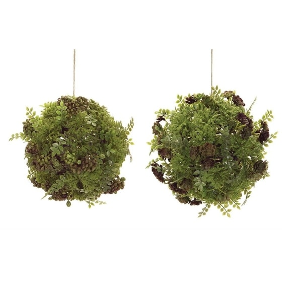"""Pack of 4 Uniquely Mixed Greenery and Foliage Ball Ornaments 8.5"""" - green"""