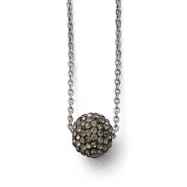 Chisel Stainless Steel Polished Black Enamel with Crystals with 2in ext. Necklace - 16 in