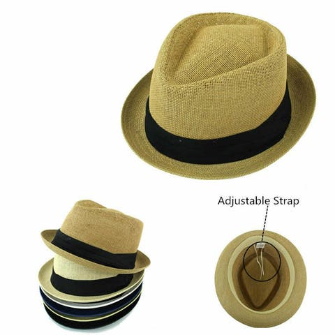 226ee71997b Straw Fedora Hat Trilby Cuban Cap Summer Beach Panama Short Brim Men Women