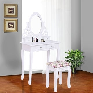 Costway Wood Vanity Makeup Dressing Table Stool Set bathroom White