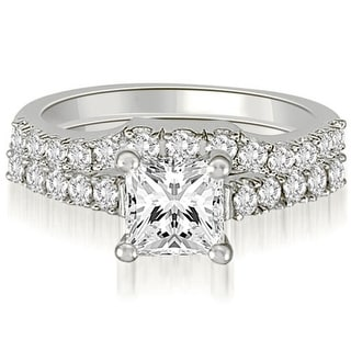 1 25 CT Lucida Princess Round Cut Diamond Bridal Set In 14KT Gold White H I