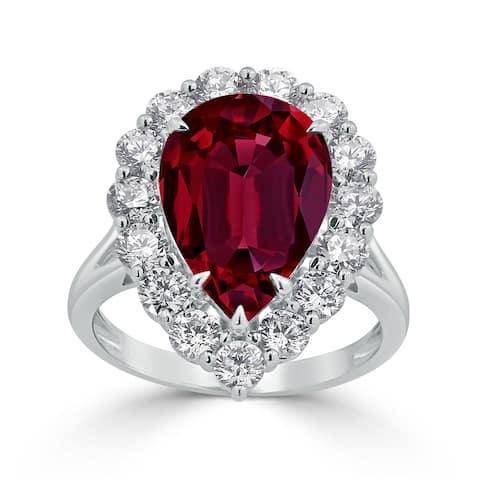 Auriya 2 1/5ct Pear-cut Red Ruby Halo Diamond Engagement Ring 1 3/4cttw 18K Gold