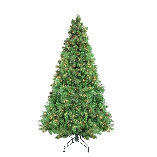 7.5' Pre-Lit Canterbury Spruce with Dew Drops Artificial Christmas Tree - Clear Lights - green