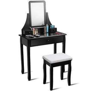 Gymax Vanity Dressing Table Set Mirror Desk Furniture Stool W/ Mirror & 3 Drawer Black