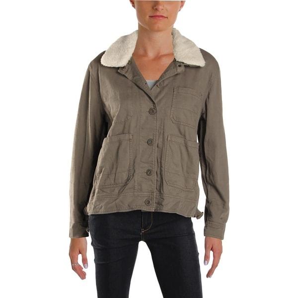 Lucky Brand Womens Field Coat Fall Faux Sherpa
