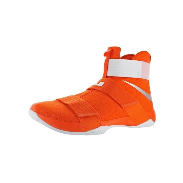 wholesale dealer 4459c 94ad4 Nike LeBron Soldier 10 Men  x27 s Mesh High-Top Basketball Shoes Orange