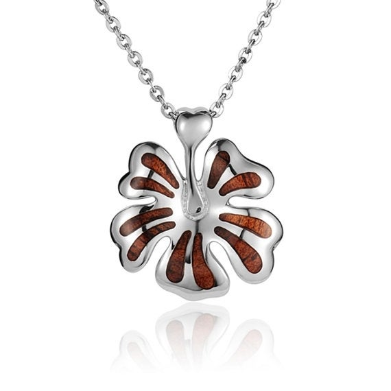 """Hibiscus Flower Necklace Koa Wood Sterling Silver Pendant 18"""" Chain"""