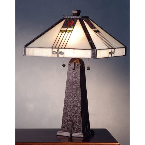 Meyda Tiffany 70967 Stained Glass / Tiffany Table Lamp from the Pasadena Rose Collection - Mahogany Bronze - n/a