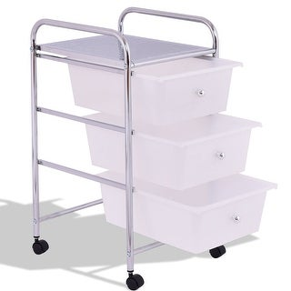 3 Drawers White Metal Rolling Storage Cart