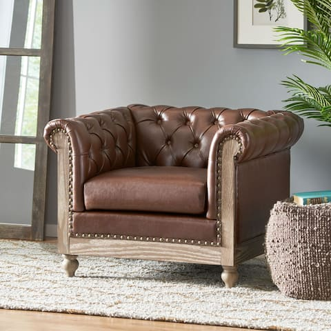 """Castalia Chesterfield Tufted Club Chair with Nailhead Trim by Christopher Knight Home - 39.00"""" L x 33.50"""" W x 28.00"""" H"""