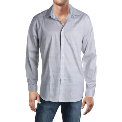 DKNY Mens Button-Down Shirt Striped Stretch - Coal Dust