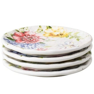 Porcelain Flower Butterfly Meadow Accent Plate 8'' x 8'', White, (set of 4)
