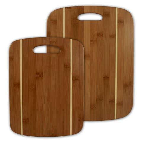 Totally Bamboo 20-2036 Striped Bamboo Cutting Board Set, 2-Piece